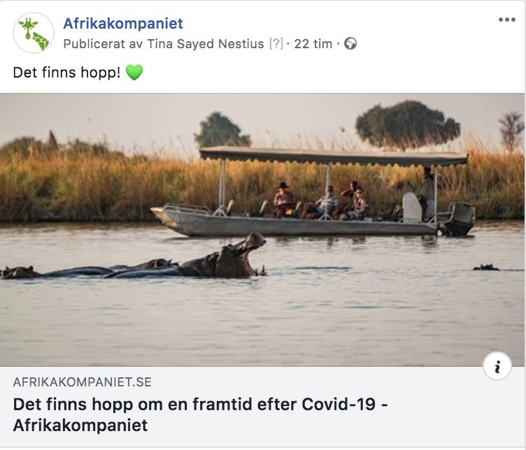 Afrikakompaniet, sociala medier strategi coronatider