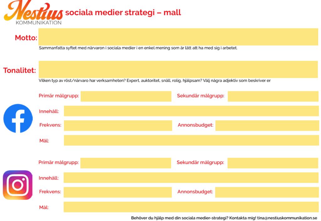 bild på sociala medier strategi mall sid 2